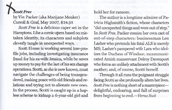 Scott Free Review in Mystery Scene 2007