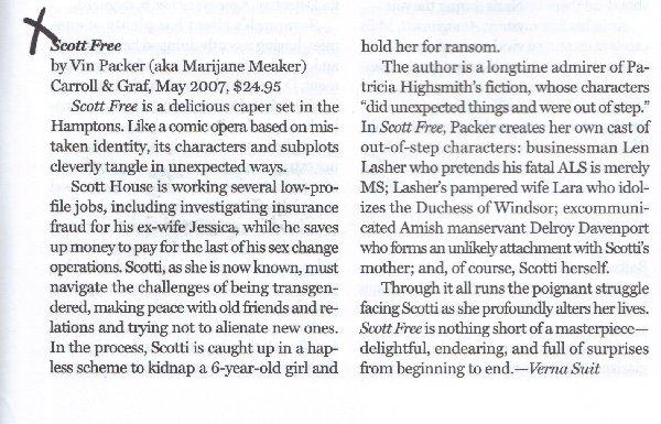 Scott Free Review in Mystery Scene 2007