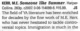 Someone Like Summer Booklist Review 2007 part 1